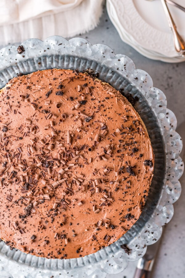 Overhead shot of easy chocolate peanut butter pie in pie tin