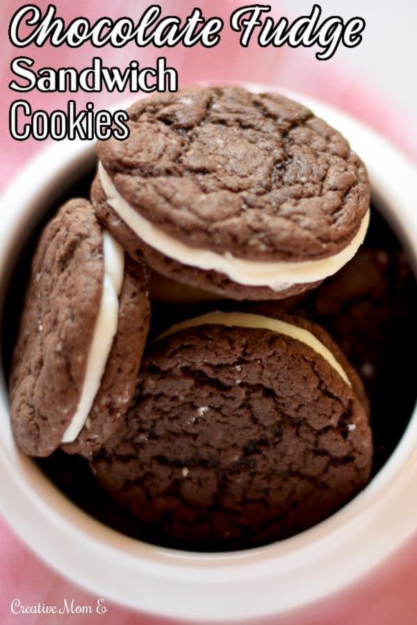 Chocolate Fudge Sandwich Cookies Pinterest pin.