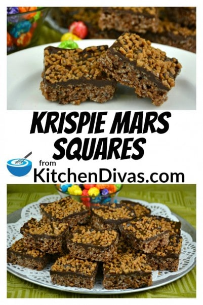 Krispie Mars Squares are one of my favorites!  Every bite has just the right amount of chocolate, caramel and crunch!  These bars are different than the original rice krispie squares we are all used to and so much better!  https://kitchendivas.com/krispie-mars-squares/