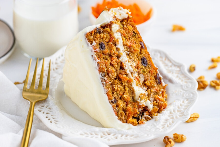2 layer carrot cake layer cake on white plate