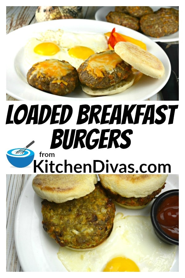 These Loaded Breakfast Burgers are the best we have ever tried and they include all of our favorite breakfast foods, all in one burger! Everything from potatoes to bacon to cheese to sausage or pork and more! This is a recipe you have to see!  https://kitchendivas.com/loaded-breakfast-burgers/