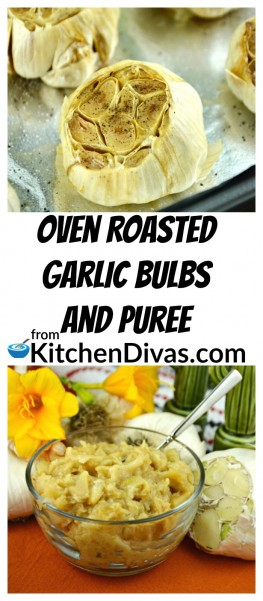 We are big garlic lovers here and we make these Oven Roasted Garlic Bulbs regularly and I always have some Oven Roasted Garlic Puree in the fridge ready to go! We use it in mashed potatoes, mixed with sour cream as a topping for baked potatoes, added to sauces, dressings or even when roasting vegetables. The possibilities are endless. https://kitchendivas.com/oven-roasted-garlic-bulb/