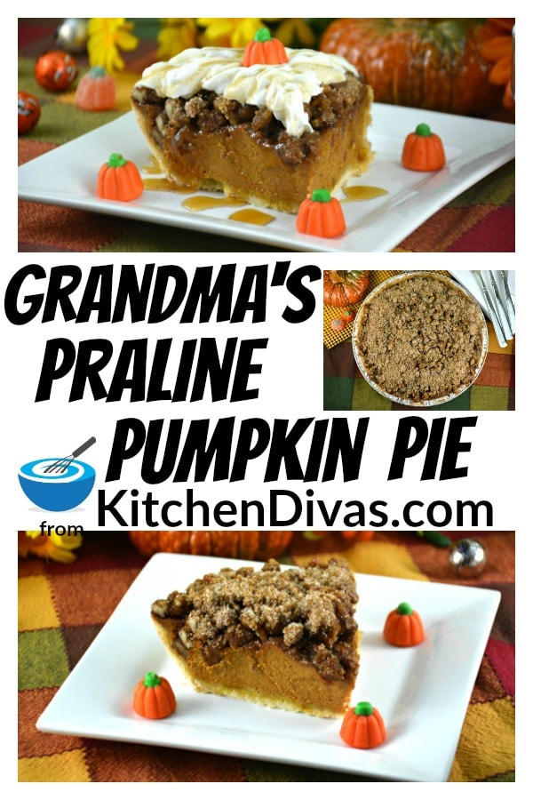 ThisPraline Pumpkin Pie is delicious on its own but the praline pecans, whipped cream and maple syrup, you have the perfect dessert for any celebration!   https://kitchendivas.com/praline-pumpkin-pie/