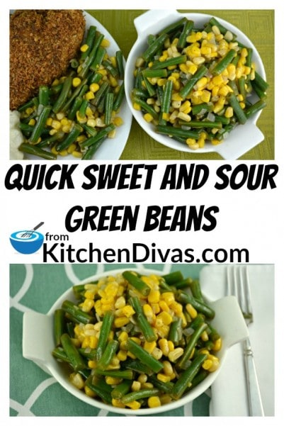 These quick Sweet and Sour Green Beans are a delicious vegetable side. Served hot or cold, with or without corn, this recipe is a perfect addition to any meal and is definitely worth a try!  Really!  https://kitchendivas.com/quick-sweet-and-sour-green-beans/