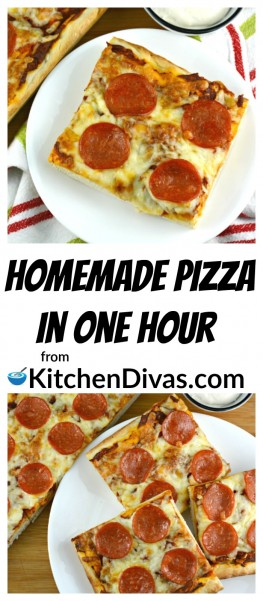This is an amazing recipe to have in your arsenal! Quick and Easy Homemade Pizza in One Hour is just that! Homemade pizza, from pantry to plate, in just 1 hour! This recipe makes two 13x9 inch pizzas or four 8 or 9 inch round cake pan sized pizzas! Use your favorite toppings and this recipe will satisfy, every time!  https://kitchendivas.com/quick-and-easy-homemade-pizza-in-one-hour/