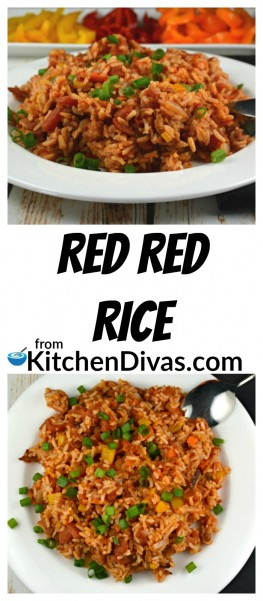 This recipe for Red Red Rice is such an easy side dish that we have been making for many years.  This rice dish is different and definitely a tasty change from our other rice dishes.  Red Red Rice is a great addition to any main course and is always a hit at family gatherings.  I actually get requests for it!  If you are in the mood for something new this recipe is definitely worth a try!  https://kitchendivas.com/red-red-rice/
