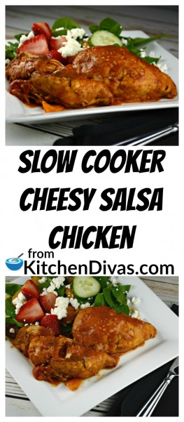 This chicken dish takes little time to prepare, uses only a few ingredients, and is delicious! Slow Cooker Cheesy Salsa chicken works perfectly served on rice or any noodle. This recipe is a definite keeper!  https://kitchendivas.com/slow-cooker-cheesy-salsa-chicken/
