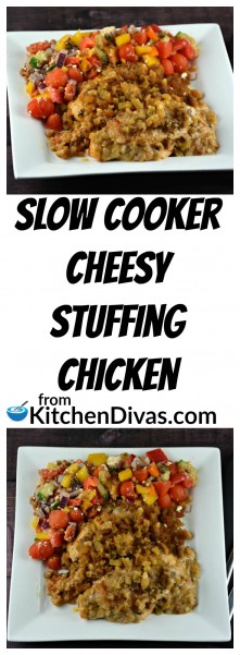 I had chicken out and ready to cook and needed something fast and fabulous. All of a sudden I remembered our recipe for Slow Cooker Cheesy Stuffing Chicken. The decision was made. As soon as I tasted it I knew we had to make a video. This chicken recipe is so easy to make and the result is always awesome!   https://kitchendivas.com/slow-cooker-cheesy-stuffing-chicken/