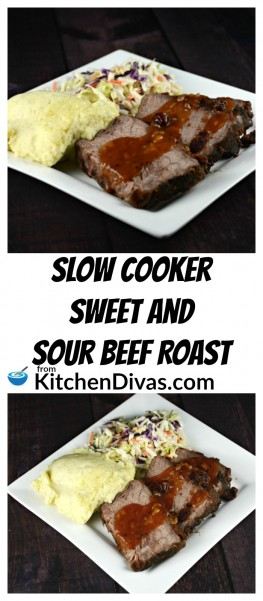 This is the easiest recipe to make. Slow Cooker Sweet and Sour Beef Roast uses only a few ingredients and is delicious! I love easy dinners like this. Prepare quickly in the morning and come home to an amazing roast beef dinner with the tastiest gravy. Serve with mashed potatoes and rice. The gravy is perfect on both! This is a recipe you will make over and over again!  https://kitchendivas.com/slow-cooker-sweet-and-sour-beef-roast/