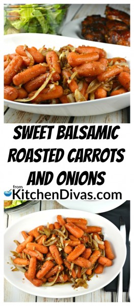 This recipe forSweet Balsamic Roasted Carrots and Onions is so easy and super delicious! We make this dish all of the time! In the winter months I tend to use baby carrots but as soon as summer approaches I can't help but use all of the carrots from our garden and our local market! Ken, my husband, loves buttered carrots and I think could eat them like that all of the time! I need change and this is one of my carrot recipes that I love the most! https://kitchendivas.com/sweet-balsamic-roasted-carrots-and-onions/