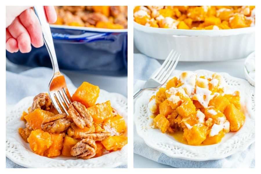 Collage of sweet potato casserole topped with pecans on left and marshmallow on right