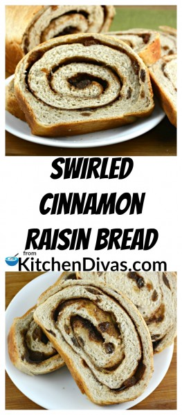 ThisSwirled Cinnamon Raisin Bread is nothing short of perfection!I love this bread fresh, out of the oven. It is so tasty fresh or toasted and buttered. My friend Lynda just toasts it, butters it and pours syrup all over it! You can also use this bread to make the most amazing french toast ever! So many options! All totally delicious! https://kitchendivas.com/swirled-cinnamon-raisin-bread/