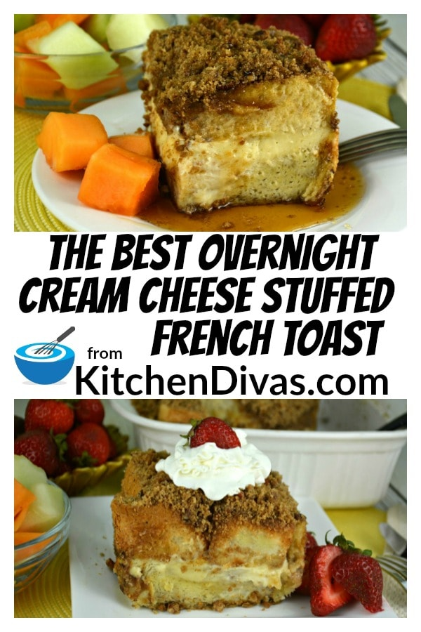 This recipe for the Best Overnight Cream Cheese Stuffed French Toast is by far our favorite breakfast treat around here! I can't decide whether my favorite part is the cream cheese filling in the middle or the crumbly topping all over the top! Both are nothing short of perfection!  https://kitchendivas.com/best-overnight-cream-cheese-stuffed-french-toast/