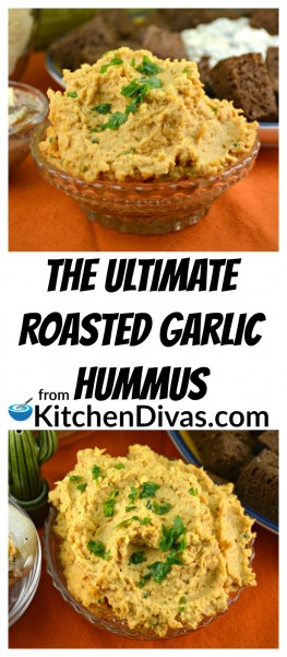 We love our recipe for The Ultimate Roasted Garlic Hummus and this recipe is delicious perfection! I love the roasted garlic and the flavor it adds to this delicious healthy dip! After trying the hummus with the roasted garlic the regular garlic just won't do!  https://kitchendivas.com/the-ultimate-roasted-garlic-hummus/