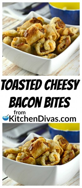 These Toasted Cheesy Bacon Bites are a fast and yummy snack! It is so hard not to eat the entire bowl yourself! Who doesn't love a little bit of cheese, bacon and onions in every crunchy bite? Even if you want to skip the bacon step this snack does not disappoint! I love appetizers like this. So easy to prepare and they disappear as fast as lightening! Well, that's what my husband Ken says anyways!https://kitchendivas.com/toasted-cheesy-bacon-bites/