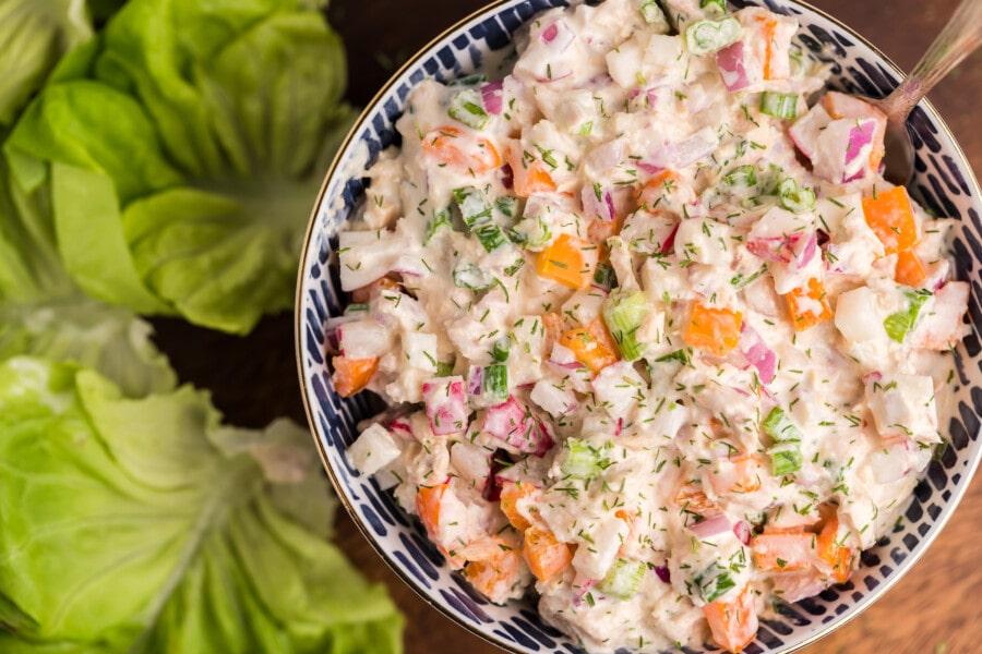Overhead shot of healthy tuna salad recipe in bowl