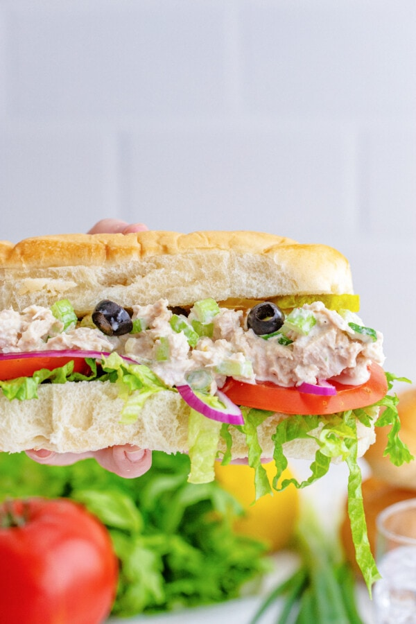 delicious looking sub sandwich with all the fixings