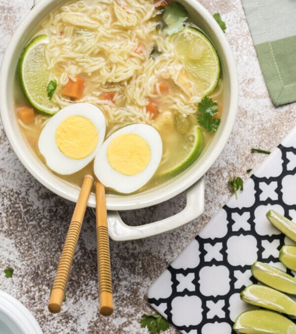 Overhead shot of soup with chopsticks in bowl