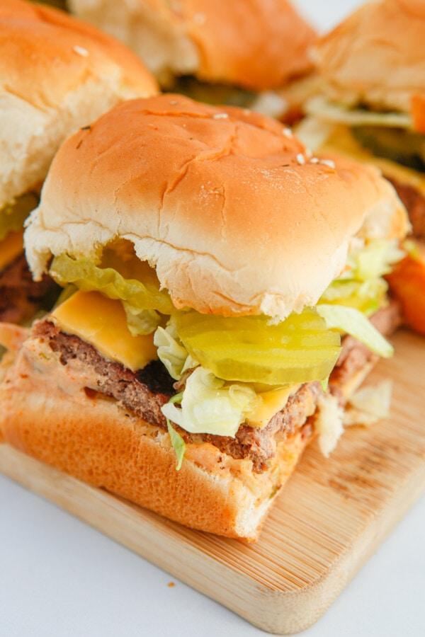 a homemade big mac burger with special sauce