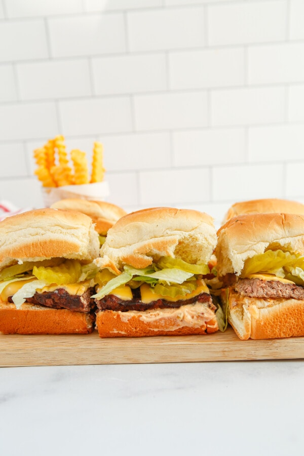 a styled shot of homemade sliders. This can be easily converted into a big mac salad recipe