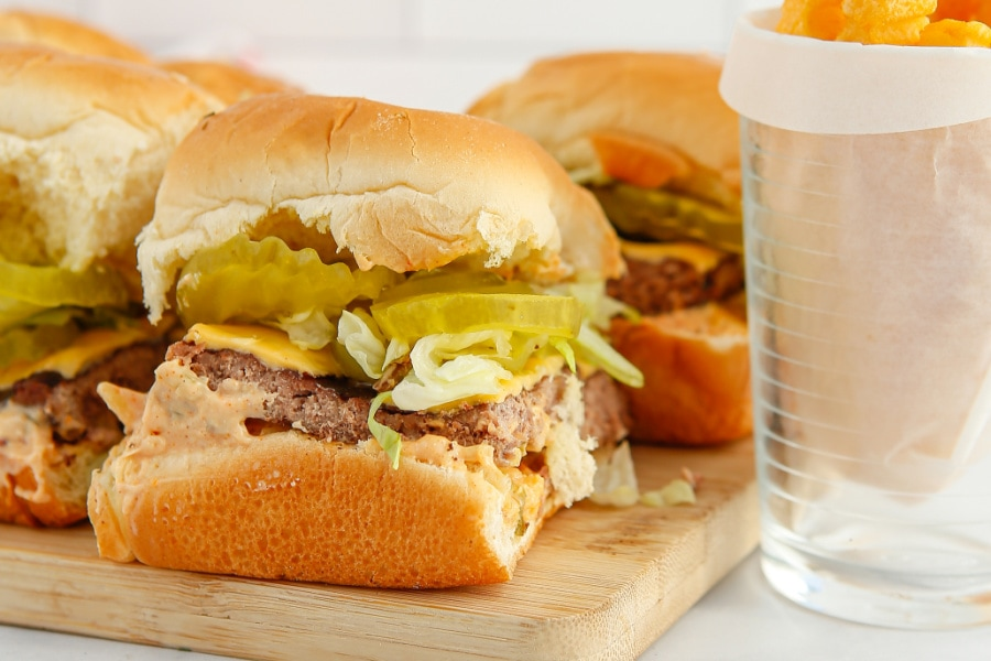 a platter of homemade sliders with Big Mac sauce