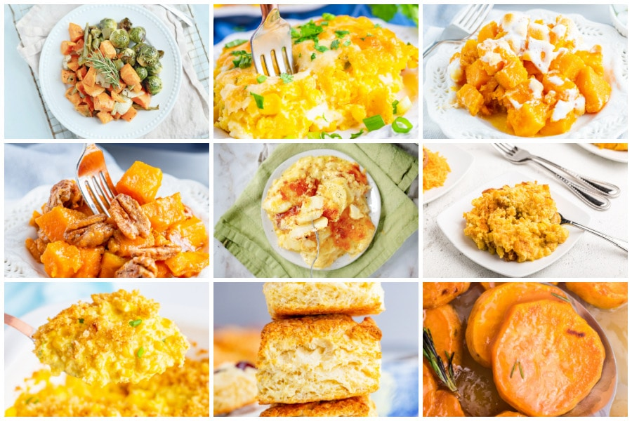 Collage of various side dishes from biscuits to candied sweet potatoes