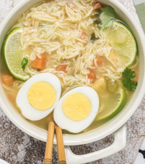 Overhead shot of ramen soup in bowl