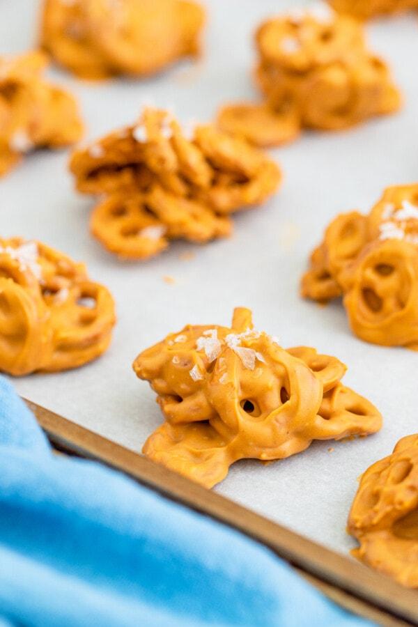 No bake butterscotch cookies on cookie sheet