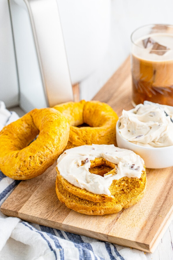 a styled shot of air fryer bread treats with fall flavors and maple butter