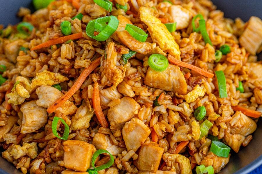 Closeup shot of homemade chicken fried rice