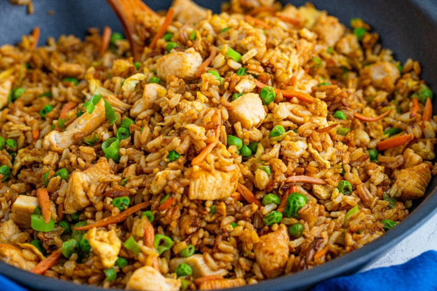 Closeup shot of homemade chicken fried rice in pan