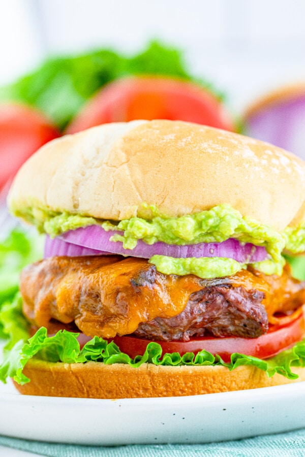 a closeup photo of a finished venison burger recipe loaded with veggies