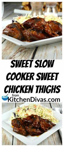 This Sweet Slow Cooker Sweet Chicken Thighs recipe is a definite keeper! I love this kind of dump and go recipe! Open your slow cooker, place the chicken thighs in, and dump this yummy mixture over top! Come back in a few hours and dinner is almost ready! You can serve this fabulous chicken recipe with literally anything you desire!https://kitchendivas.com/sweet-slow-cooker-chicken-thighs/