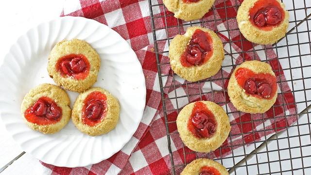 Creamy Thumbprint Cherry Cheesecake Cookie